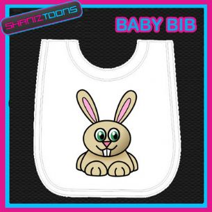 RABBIT WHITE BABY BIB PRINTED DESIGN